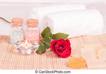 Spa concept with rose close up