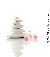 spa concept zen basalt stones with cherry flowers - Zen...