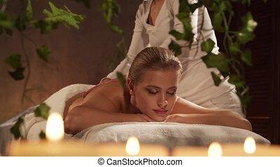 spa, corps, style de vie, jeune, obtient, concept., femme saine, beau, massez thérapie, salon., soin