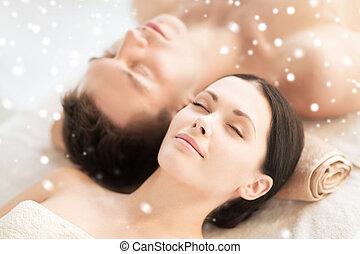 spa, couple, heureux