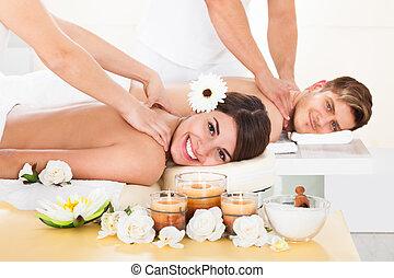spa, couple, réception, masage