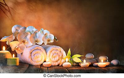 spa, -, couple, serviettes, à, bougies