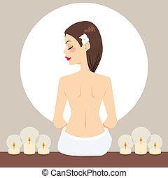 spa, délassant, bougies, femme