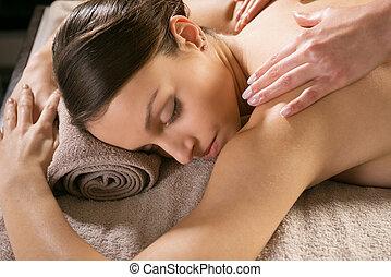 spa, délassant, massage dorsal