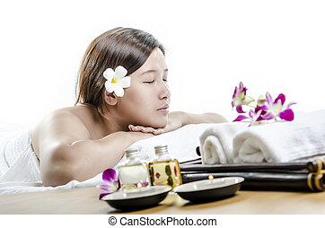 spa, dame, junger, massage
