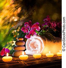spa, dans, jardin, vertical, composition