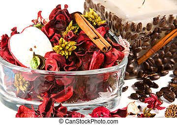 Close up on a candle and potpourri - Spa Scene