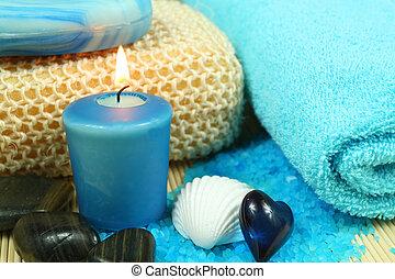 spa, e, wellness, em, azul