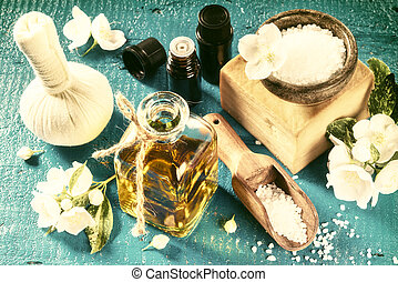 spa, einstellung, mit, jasmin, blumen, und, wesentlich, oil., wohlfühlen, begriff, draufsicht