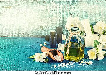 spa, einstellung, mit, jasmin, blumen, und, wesentlich, oil., wohlfühlen, begriff