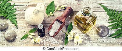 spa, einstellung, mit, jasmin, wesentliches öl, und, flowers., wohlfühlen, begriff