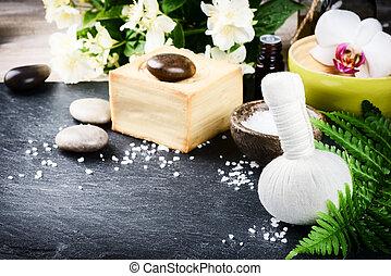 spa, einstellung, mit, kräuter, massage, kugel, blumen, und, wesentliches öl
