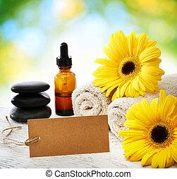 spa, elementos, com, cartão, sobre, brilhante, folhas, luz