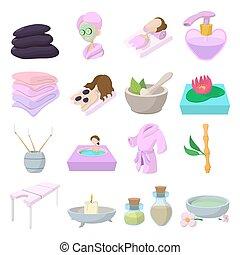 spa, ensemble, dessin animé, icônes