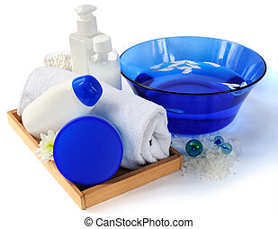 Spa essentials in blue and white color - Spa essentials with...