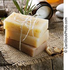 spa, feito à mão, produtos, sabonetes, closeup.