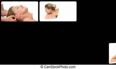 spa, femme, centre, délassant