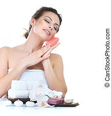 spa, femme, fait main, savon