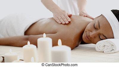 spa, femme, jeune, masage, avoir