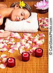 spa, femme, jeune, masage, salon.