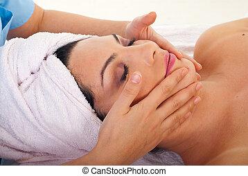 spa, femme, masage, facial, obtenir