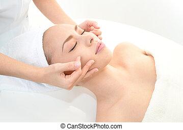 spa, femme, masage