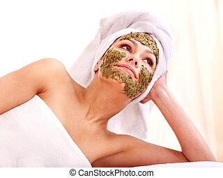 spa, femme, masque, facial, obtenir
