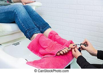 spa, femme, pédicure, clou, orteils, mains, polonais, chaise...
