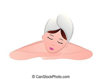 spa, femme, serviette