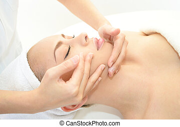 spa, femme souriante, masage