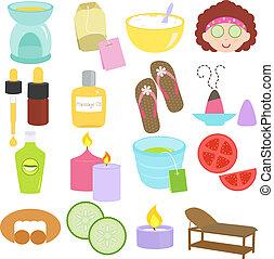 spa, ferramentas, ícones, beleza, relaxamento
