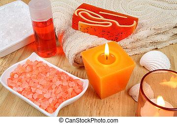 spa, ferramentas, em, laranja