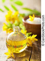 spa, flores, óleo, essencial, amarela