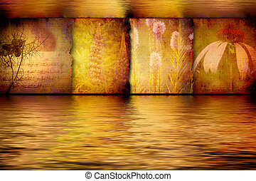 spa flower paintings in gilded aquatic background