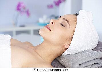 spa, frau, natürliche schönheit