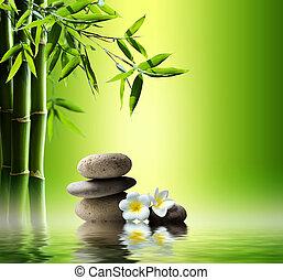 spa, fundo, com, bambu
