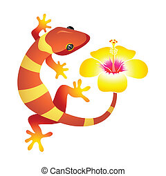 Spa gecko - Little leopard gecko with hibiscus flower as spa...