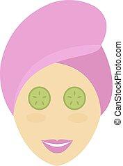 Spa girl face mask vector.