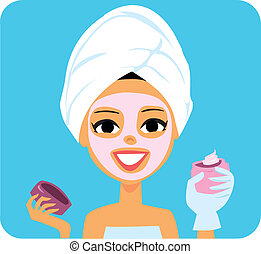 Spa girl illustration with a towel wrapped around her hair and facial mask on her face!