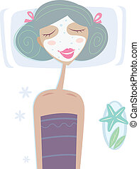 Spa - Girl with facial sea mask