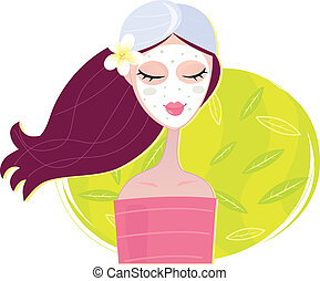 Young girl with facial mask. Vector Illustration.