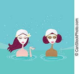 Spa girls relaxing in water pool - Beautiful girl talking in...