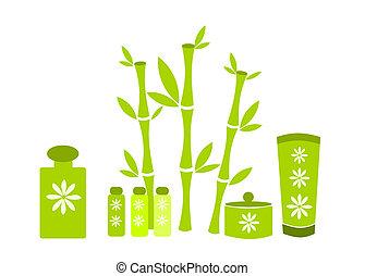spa, groene, schoonheidsmiddelen