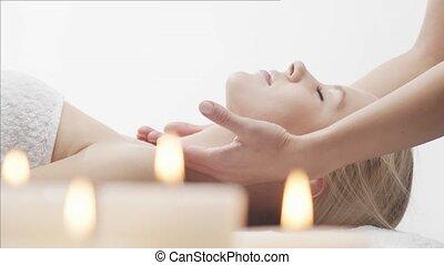 spa, haut, salon., thailändisch, gesunde frau, massage,...