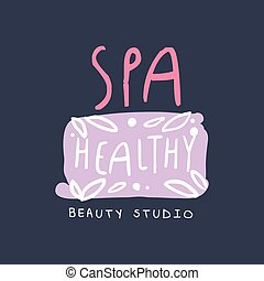 Spa, healthy, beauty studio logo, emblem for wellness, yoga center hand drawn vector Illustration
