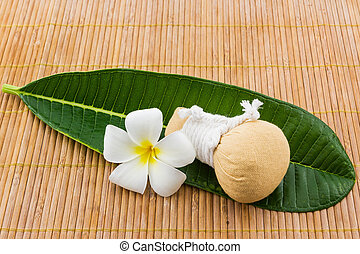Spa herbal compressing ball and plumeria.