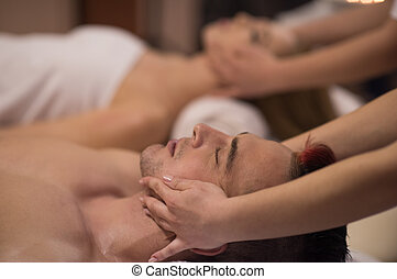 spa, hoofd, het genieten van, paar, masseren