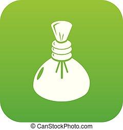 Spa hot compress icon green vector