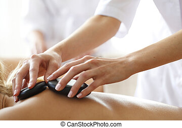 Spa hot stone massage