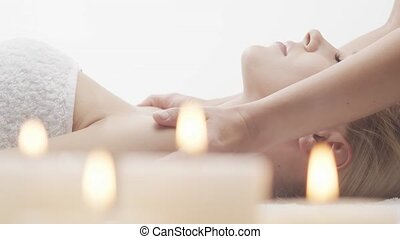 spa, huid, salon., thai, gezonde vrouw, masseren, jonge,...
